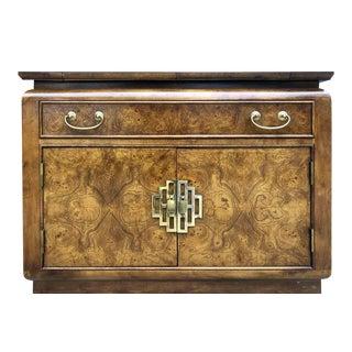 1970s Century Furniture Chinoiserie Burlwood Buffet Server For Sale