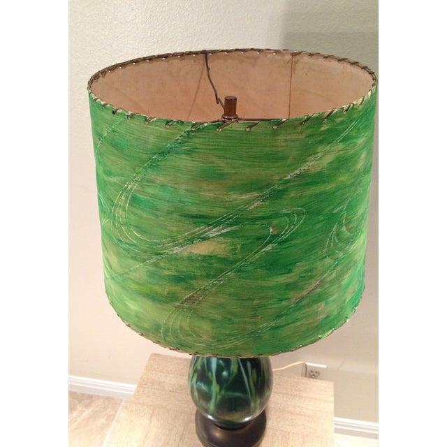Mid-Century Green Ceramic Lamp & Handpainted Shade - Image 5 of 9