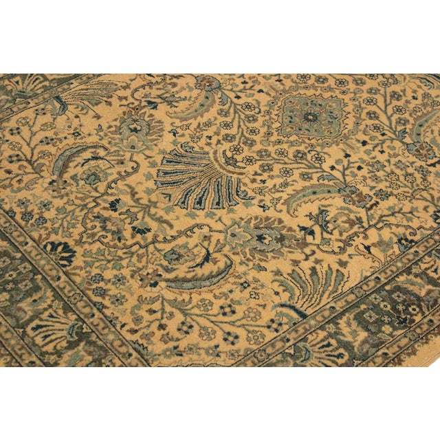 Semi Antique Istanbul Catrina Ivory/Lt. Green Turkish Hand-Knotted Rug -4'2 X 6'1 For Sale In New York - Image 6 of 8