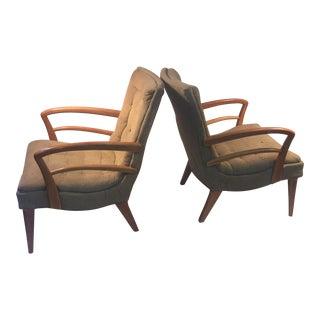 Modernist Art Deco Kem Weber Style Lounge Chairs - a Pair