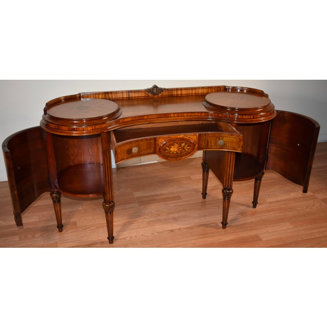 1900s Antique French Louis XVI Satinwood & Walnut Inlay Vanity For Sale - Image 9 of 13