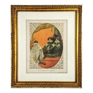Antique Print With Scene of Mozart Opera Painted by Heinrich Lefler With Gilded Gold Frame For Sale