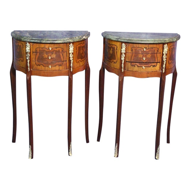 French Louis XV Marble Top End Tables - A Pair For Sale