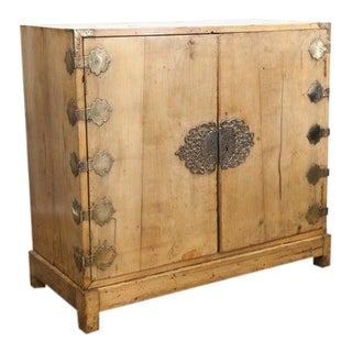 Mid 19th Century Two Door Cabinet with Chinese Engraved Brass Overlays For Sale