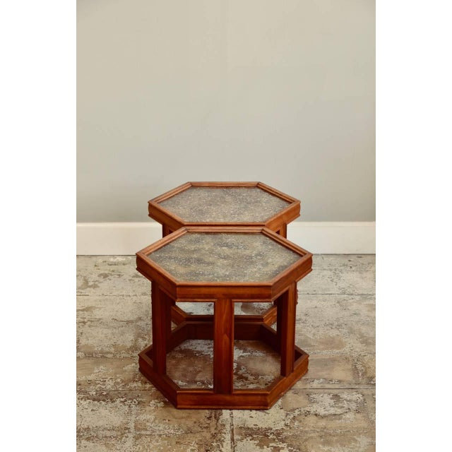 Mid-Century Modern John Keal for Brown Saltman Hexagonal Side Tables - a Pair For Sale - Image 3 of 8