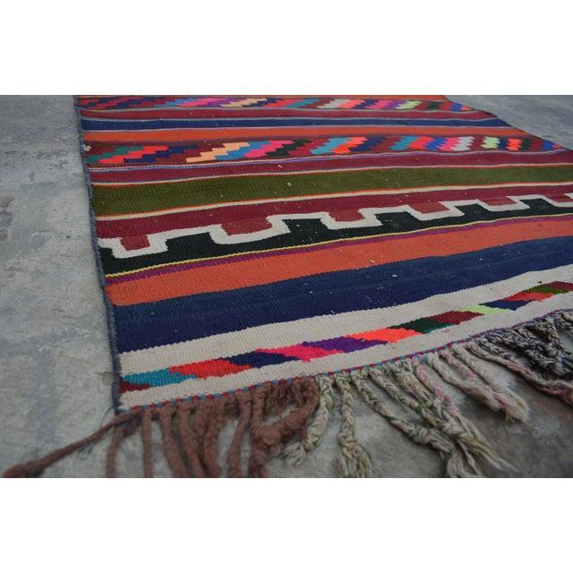 Islamic Vintage Turkish Handwoven Kilim Runner Rug - 3′4″ × 10′ For Sale - Image 3 of 5