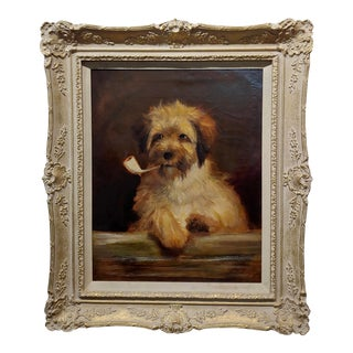Portrait of a Dog Smoking a Pipe-Beautiful 19th Century English School-Oil Painting For Sale