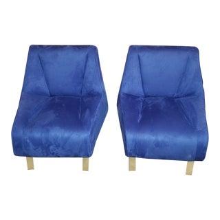 Vintage Bernhardt Design Diego Style Cobolt Blue Lounge Chairs - Pair For Sale