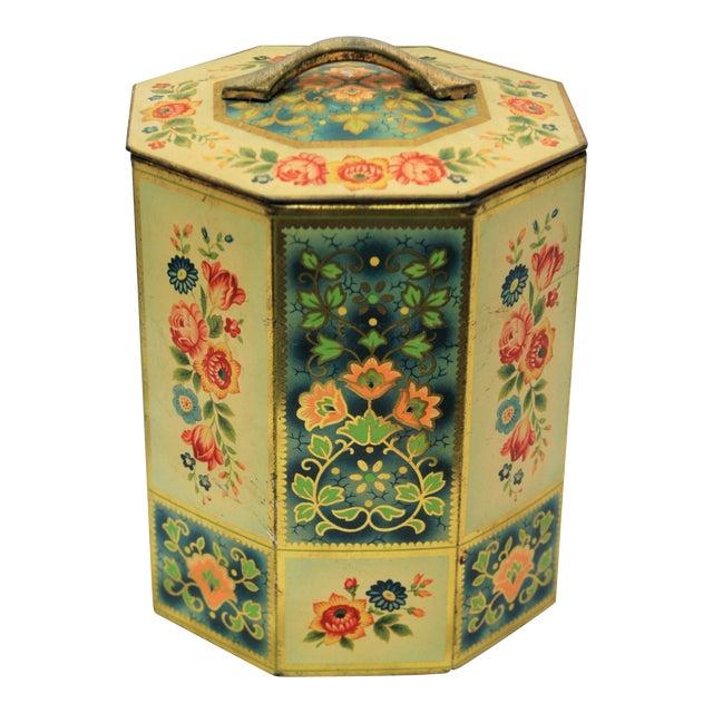 Vintage Octagonal Floral Tin - Image 1 of 7