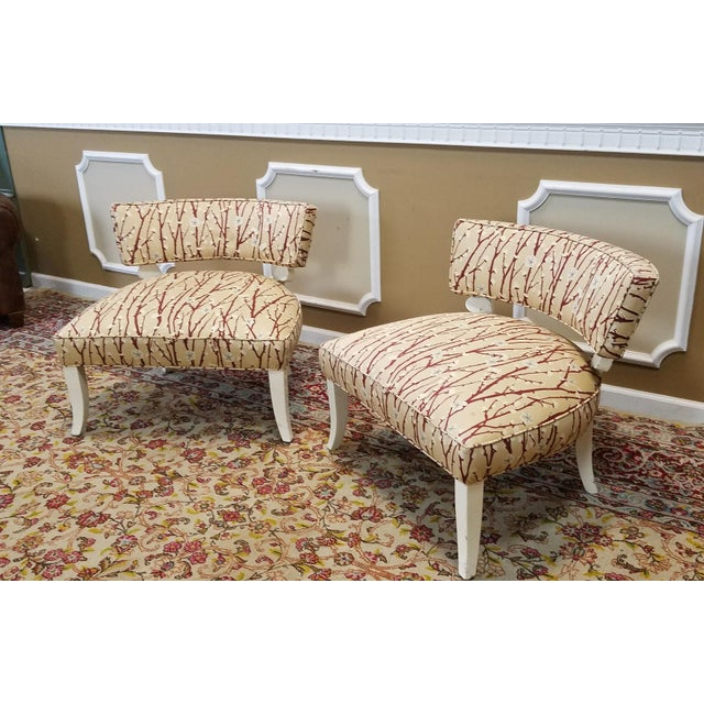 1950s Vintage Mid-Century Modern James Mont Upholstered Slipper Chairs - a Pair - Image 9 of 10