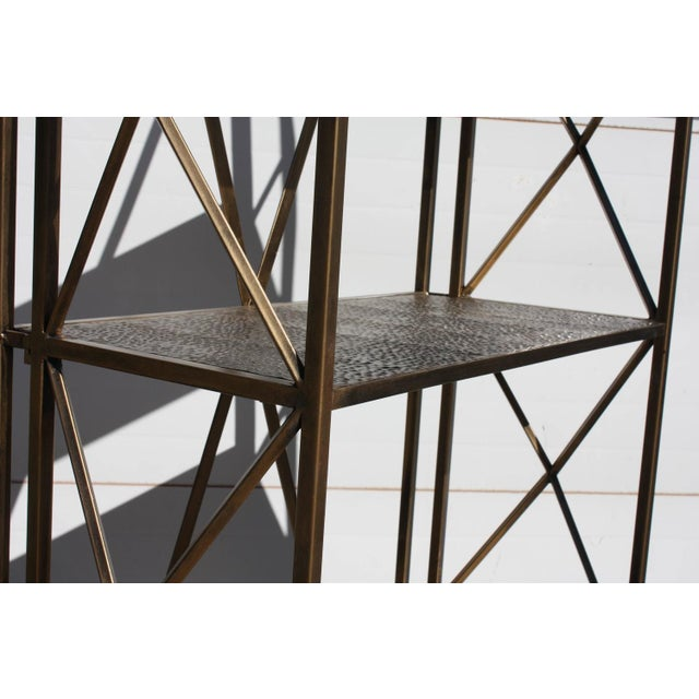 1990s Italian Wireframe Triptych Etagere Shelf - Image 3 of 10