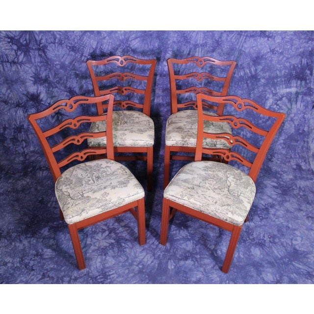 Red Painted Antique Dining Chairs - Set of 4 For Sale - Image 4 of 11