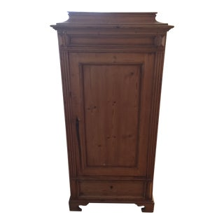 Country Pine Armoire With Shelves and One Drawer For Sale
