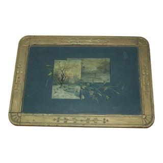 Antique Slate Blackboard with Carved Wood Frame For Sale