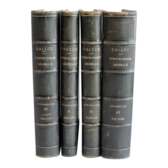 19th Century Antique Leather Bound Books Dalloz Jurisprudence - Set of 4 For Sale