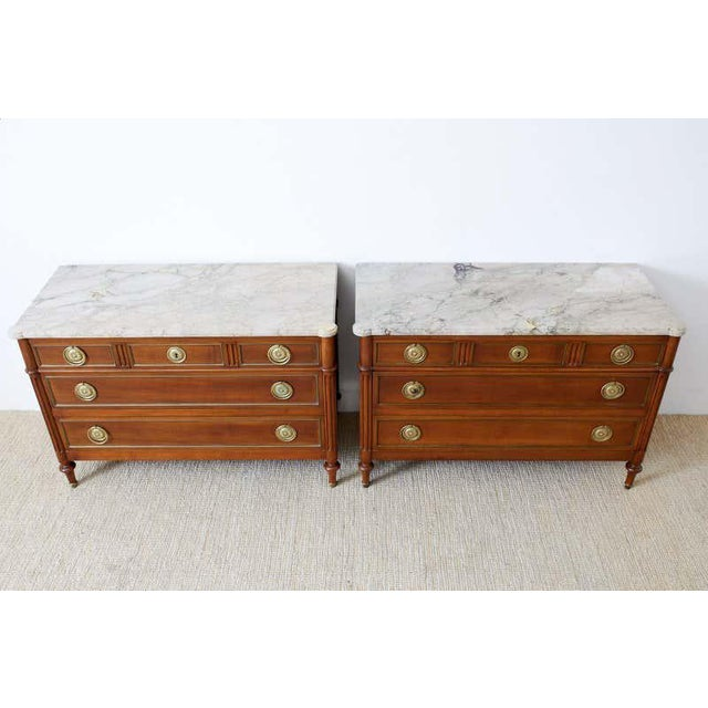 French Pair of Louis XVI Style Marble Top Commodes or Dressers For Sale - Image 3 of 13