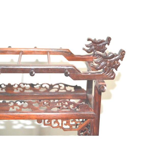 Chinese Asian Japanese Brush Holder Miniature Bed Shape Rose Wood Carved Keys Antique Vintage For Sale - Image 4 of 11