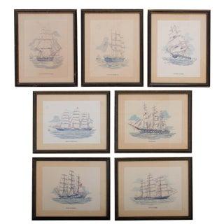 Vintage Sailing Ship Framed Print Collection - Set of 7