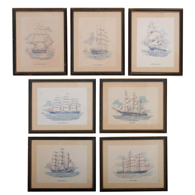 Vintage Sailing Ship Framed Print Collection - Set of 7 For Sale