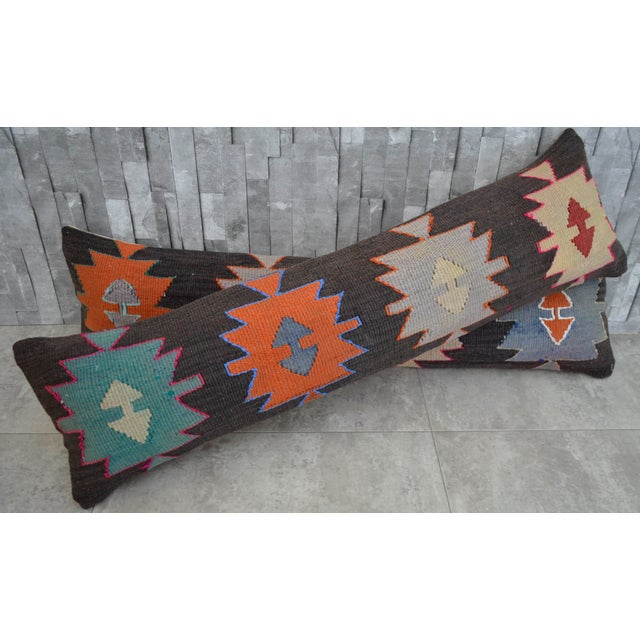 Turkish Kilim Lumbar Pillow Covers - Pair - Image 2 of 5
