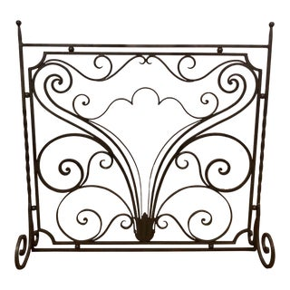 Antique French Iron Panel Fire Place Screen For Sale