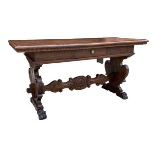 Antique Italian Renaissance Desk Library Table For Sale