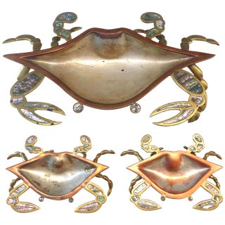 Monumental Los Castillos Style Abalone Metal Crab Bowl With Two Side Dishes For Sale