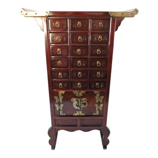 Vintage Korean Solid Rosewood Tansu Chest or Console With 18 Drawers For Sale