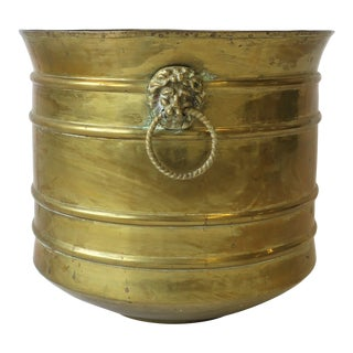 Regency Lionhead Brass Cachepot or Plant Pot Holder For Sale