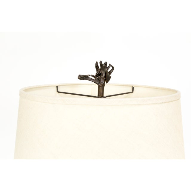 Fossilized Nautilus & Bronze Laurasia Table Lamp by Tuell + Reynolds (2 Available) For Sale - Image 11 of 13