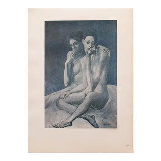 """1948 Pablo Picasso Original """"Two Friends"""" Period Lithograph With C. O. A. For Sale"""