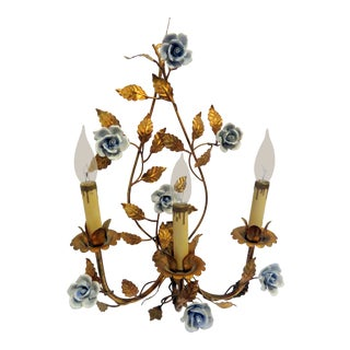 Vintage French Bagues Blue Floral Sconce Candelabra Antique Tole Gold Gilt Italian Italy Wall Art For Sale