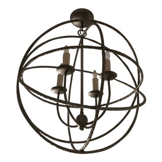 Ironware International Pewter Globe Pendant Light For Sale