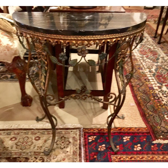 20th Century Hollywood Regency Iron Demi-Lune Hall Table With Black Marble Top For Sale - Image 11 of 13