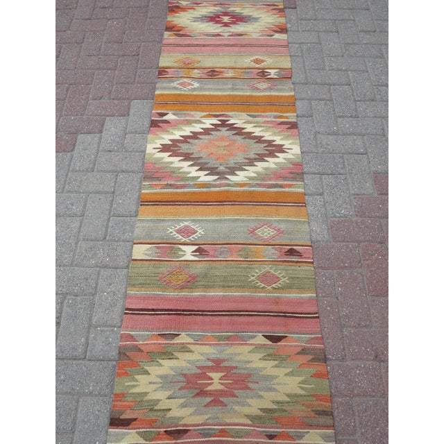 "Rug & Kilim Anatolian Kilim Runner Pastel Colored Hallway -2'1'x10"" For Sale - Image 4 of 13"