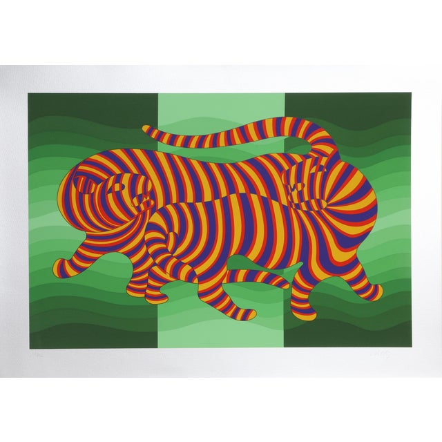 Op Art Two Tigers on Green by Victor Vasarely For Sale - Image 3 of 3