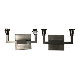 Pair of Black Modern Wall Sconces For Sale