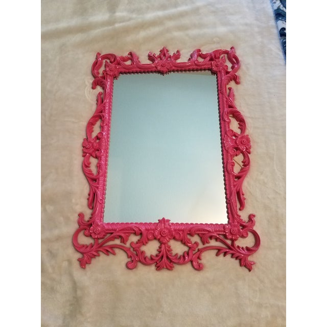 """Vintage """"Turner Wall Accessory"""" Howard Elliot Hot Pink Collection Wall Mirror For Sale In Phoenix - Image 6 of 6"""