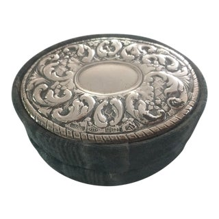 1960s Italian Sterling Silver Repousse & Taffeta Oval Box For Sale