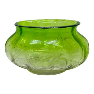 "Vintage Green Art Nouveau Moser Crystal Deep Engraved 12"" Console Bowl/ Wine Cooler For Sale"