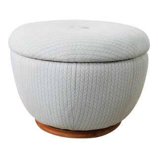 Mid-Century Adrian Pearsall Style Swivel Pouf Round Ottoman For Sale