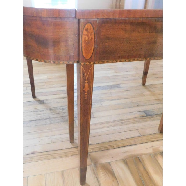 Antique Demi-Lune Mahogany Marquetry Extension Dining Table For Sale - Image 4 of 11