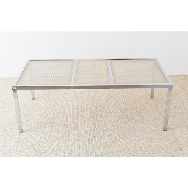 Mid-Century Modern Milo Baughman Chrome Cane Wicker Dining Table For Sale - Image 3 of 13