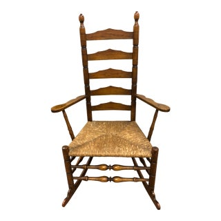 1930's Vintage Wallace Nutting Turned Slat-Back Armed Rocking Chair For Sale
