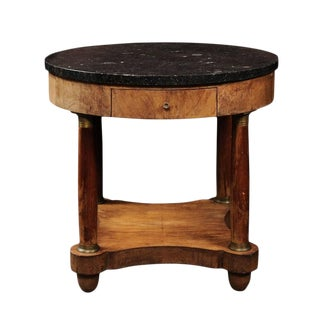 French Empire Style 1850s Burl Table with Marble Top and Corinthian Columns