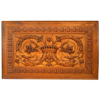 19th Century Italian Neoclassical Style Relief Carved Walnut Panel For Sale