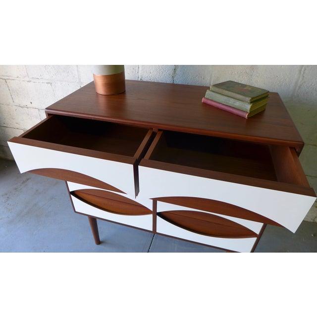 Mid-Century Modern Style White & Teak Dresser - Image 8 of 9