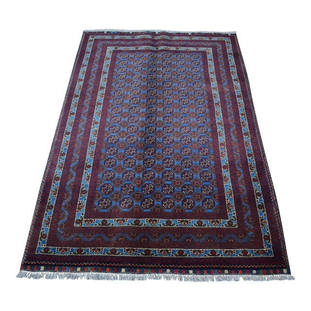 Traditional Bokhara Hand-Knotted Raspberry Red and Sky Blue Wool Rug For Sale