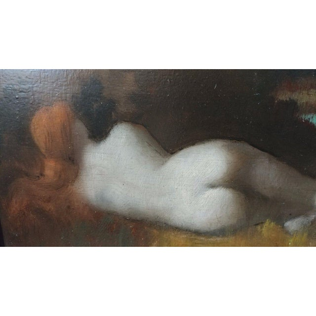19th Century Jean-Jacques HennerStyle Study of a Nude Nymph Oil Painting For Sale In Los Angeles - Image 6 of 11