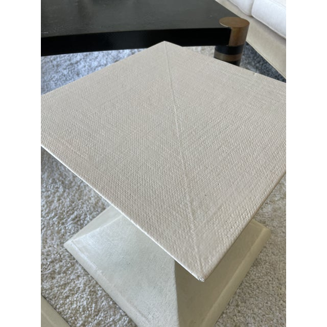 1970s Linen Wrapped Side Tables - a Pair For Sale In Miami - Image 6 of 8
